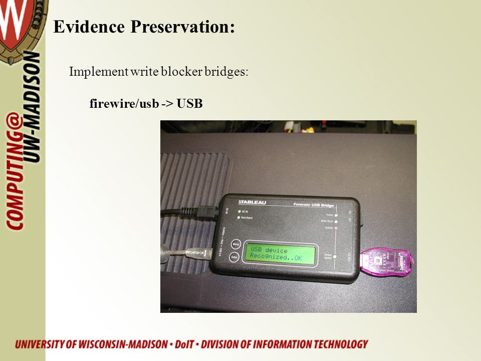 Evidence Preservation: Implement write blocker bridges: firewire/usb -> USB