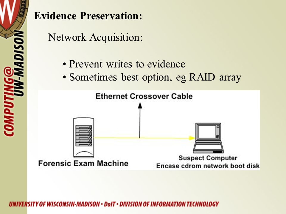 Evidence Preservation: Network Acquisition: Prevent writes to evidence Sometimes best option, eg RAID array