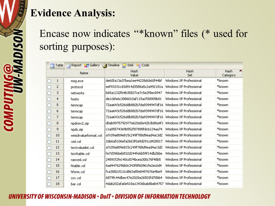 "Evidence Analysis: Encase now indicates ""*known"" files (* used for sorting purposes):"