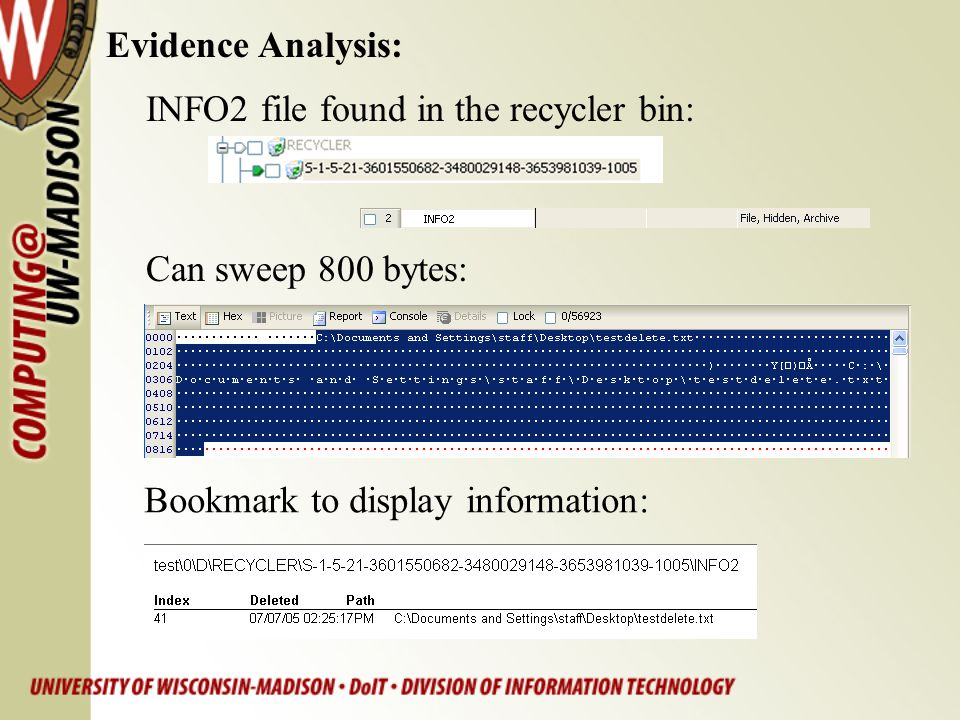 Evidence Analysis: INFO2 file found in the recycler bin: Can sweep 800 bytes: Bookmark to display information: