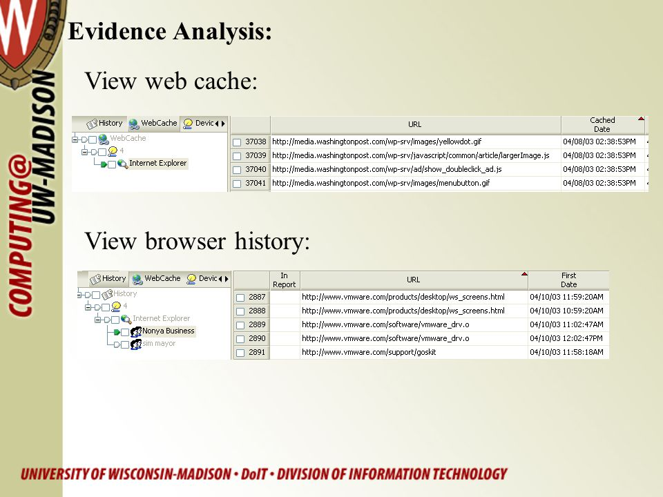 Evidence Analysis: View web cache: View browser history: