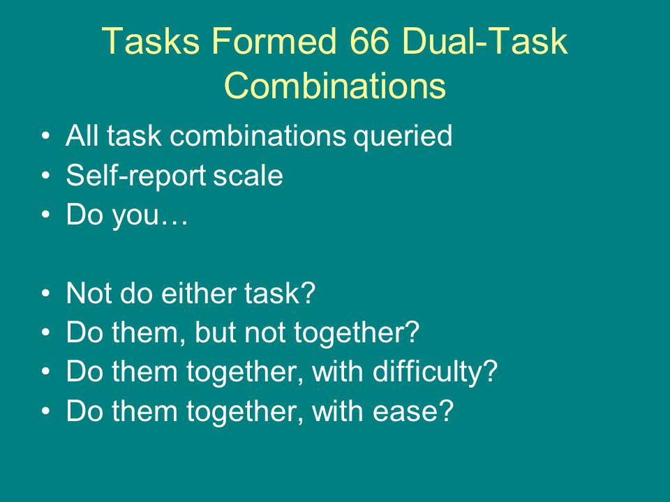 Tasks Formed 66 Dual-Task Combinations All task combinations queried Self-report scale Do you… Not do either task? Do them, but not together? Do them