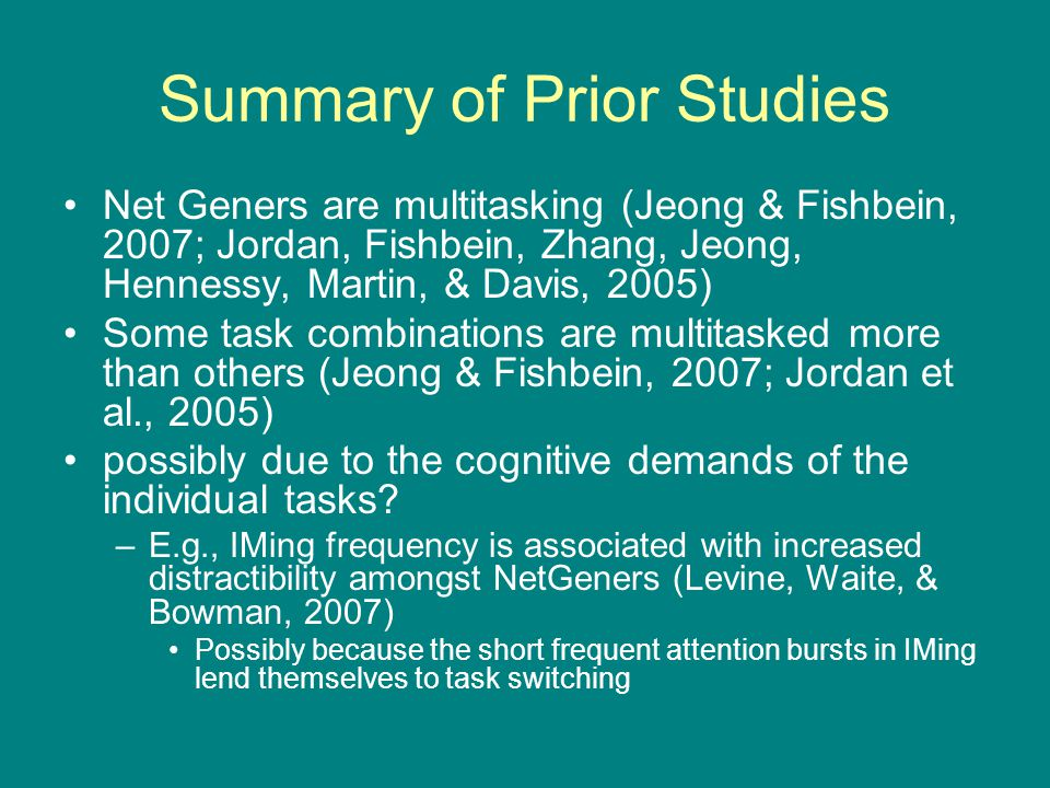 Summary of Prior Studies Net Geners are multitasking (Jeong & Fishbein, 2007; Jordan, Fishbein, Zhang, Jeong, Hennessy, Martin, & Davis, 2005) Some ta