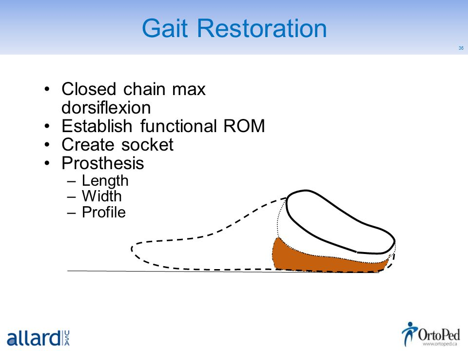 36 Gait Restoration Closed chain max dorsiflexion Establish functional ROM Create socket Prosthesis –Length –Width –Profile