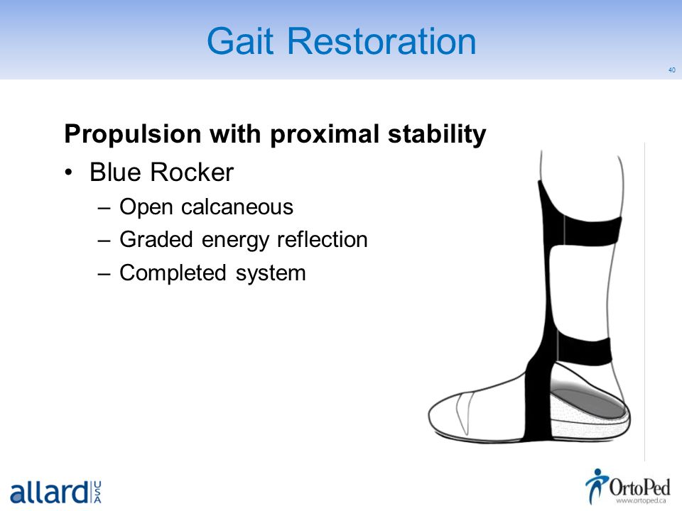 40 Gait Restoration Propulsion with proximal stability Blue Rocker –Open calcaneous –Graded energy reflection –Completed system