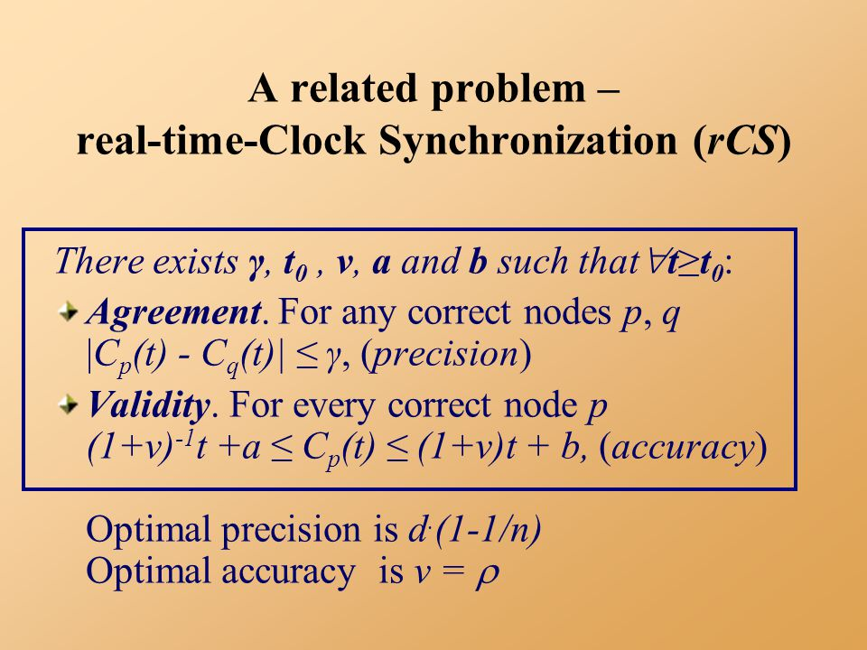 A related problem – real-time-Clock Synchronization (rCS) There exists γ, t 0, ν, a and b such that  t≥t 0 : Agreement.