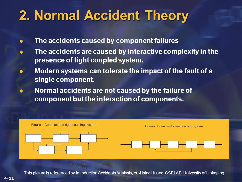 The accidents caused by component failures The accidents are caused by interactive complexity in the presence of tight coupled system.