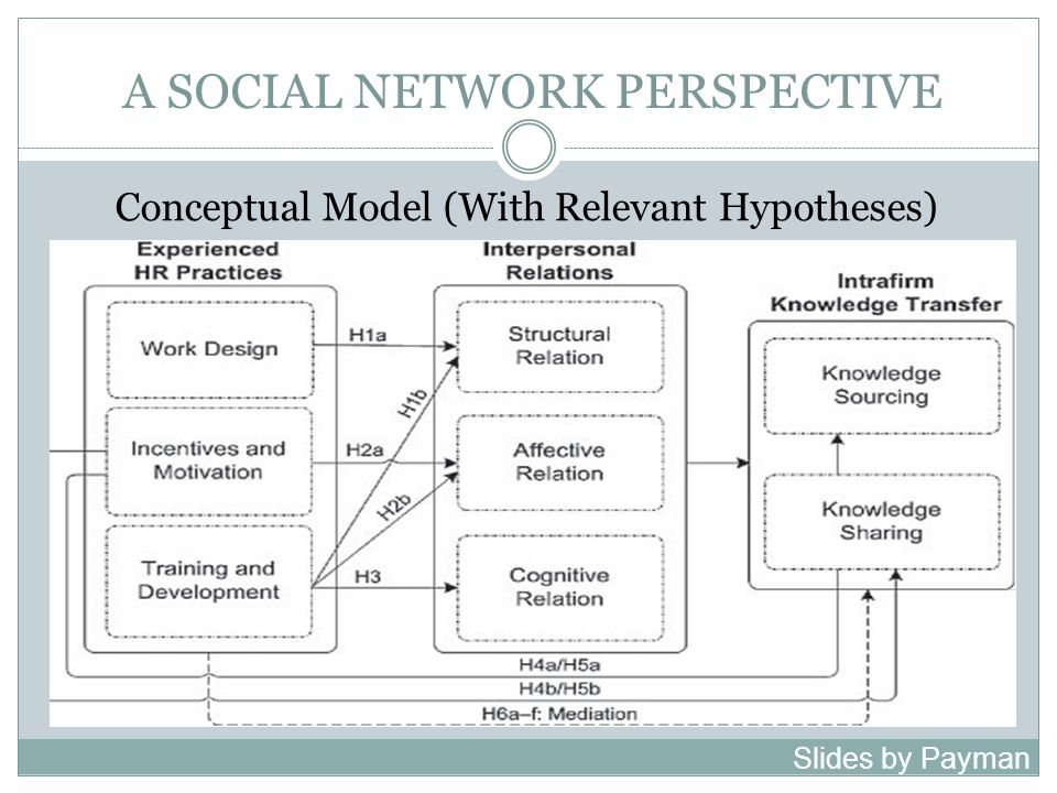 A SOCIAL NETWORK PERSPECTIVE Experienced HR Practices: The social network perspective is also present in our operationalization of HR practices.