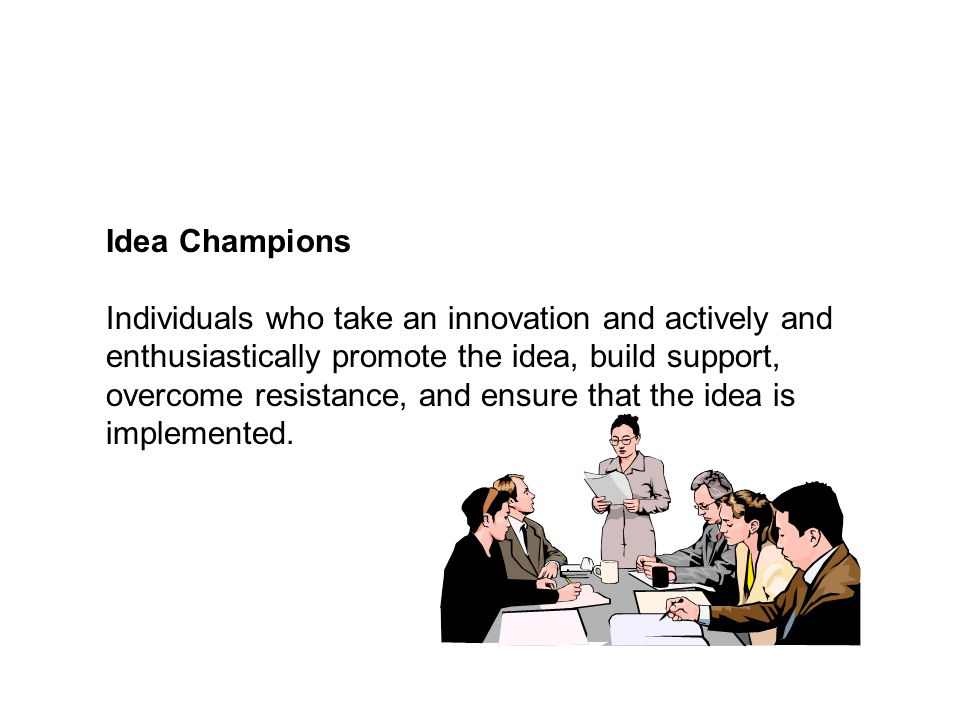 Idea Champions Individuals who take an innovation and actively and enthusiastically promote the idea, build support, overcome resistance, and ensure t