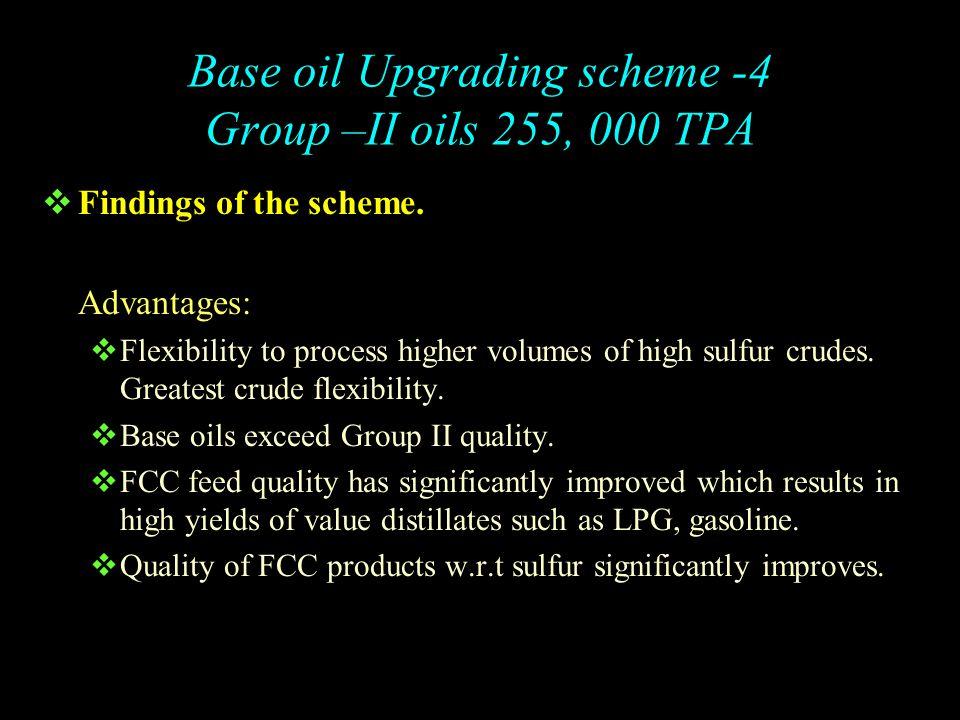 Base Oil Upgrading Scheme- 4 Group II Base Oil : 255,000 TPA FCCU 870,000 Light Feed Heavy Feed Lube Hydrocracker Blocked Operation 1340,000 TPA HDW 290,000 TPA 1) Arab Mix Crude processed Notes 2) VI of 500N > 120 Spindle Oil Waxy 150N Waxy 500N <360ºC Spindle 150 N 500N Heavy Diesel Streams VDU Side Streams Hydrocracker DS VGO 0.005% Sulfur 360ºC & lighter