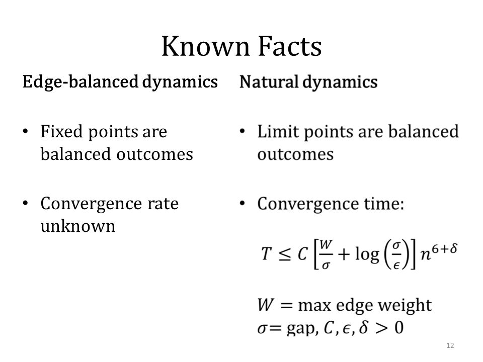 Known Facts Edge-balanced dynamics Fixed points are balanced outcomes Convergence rate unknown 12