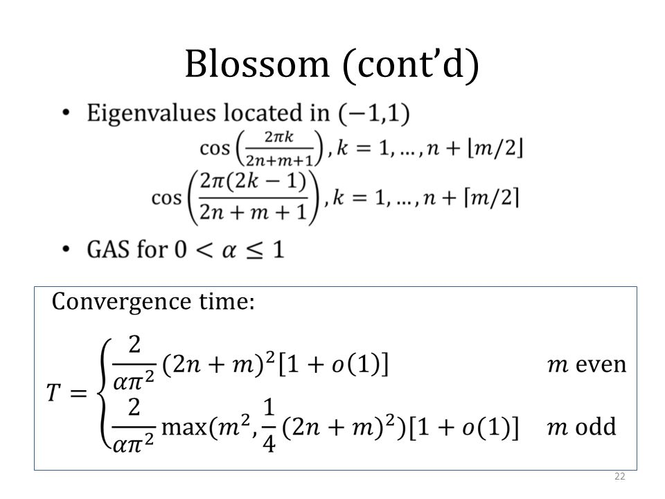 Blossom (cont'd) 22 Convergence time: