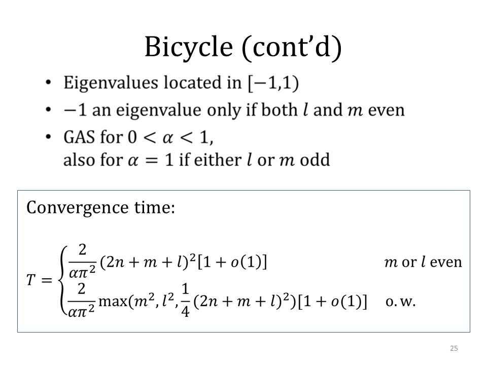 Bicycle (cont'd) Convergence time: 25