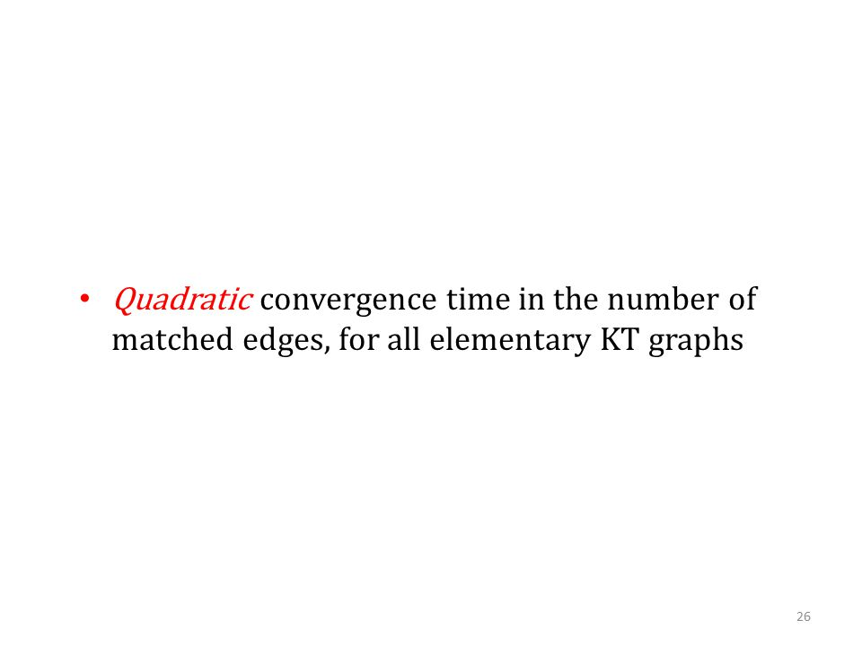 Quadratic convergence time in the number of matched edges, for all elementary KT graphs 26