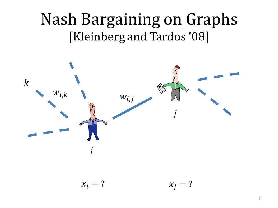 Nash Bargaining on Graphs [Kleinberg and Tardos '08] 3