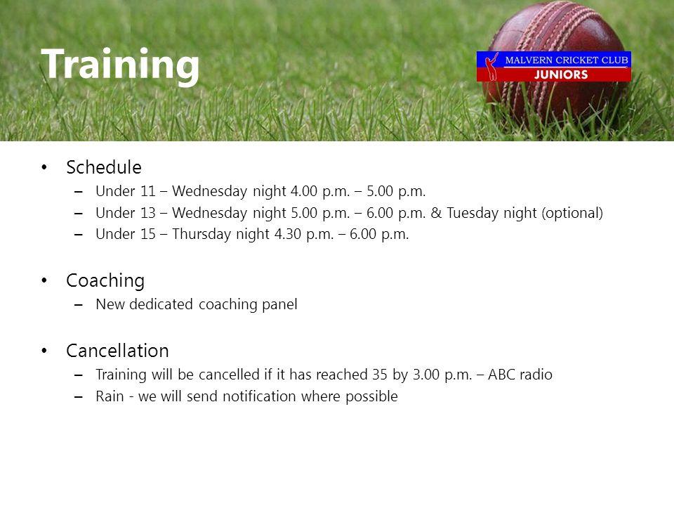 Schedule – Under 11 – Wednesday night 4.00 p.m. – 5.00 p.m.