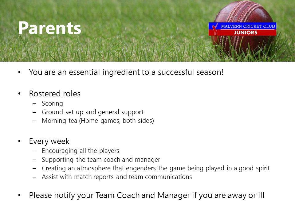 You are an essential ingredient to a successful season.