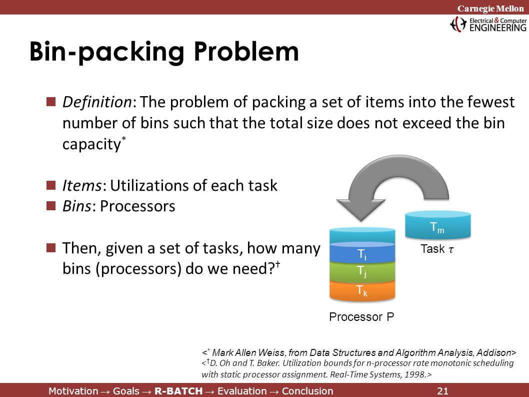 Carnegie Mellon Motivation → Goals → R-BATCH → Evaluation → Conclusion21 Bin-packing Problem Definition: The problem of packing a set of items into the fewest number of bins such that the total size does not exceed the bin capacity * Items: Utilizations of each task Bins: Processors Then, given a set of tasks, how many bins (processors) do we need.