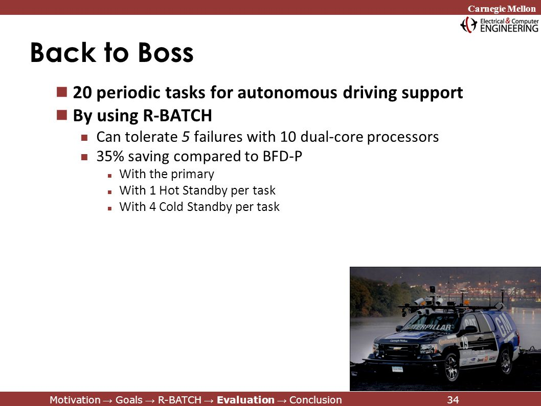 Carnegie Mellon Motivation → Goals → R-BATCH → Evaluation → Conclusion34 Back to Boss 20 periodic tasks for autonomous driving support By using R-BATCH Can tolerate 5 failures with 10 dual-core processors 35% saving compared to BFD-P With the primary With 1 Hot Standby per task With 4 Cold Standby per task Motivation → Goals → R-BATCH → Evaluation → Conclusion34