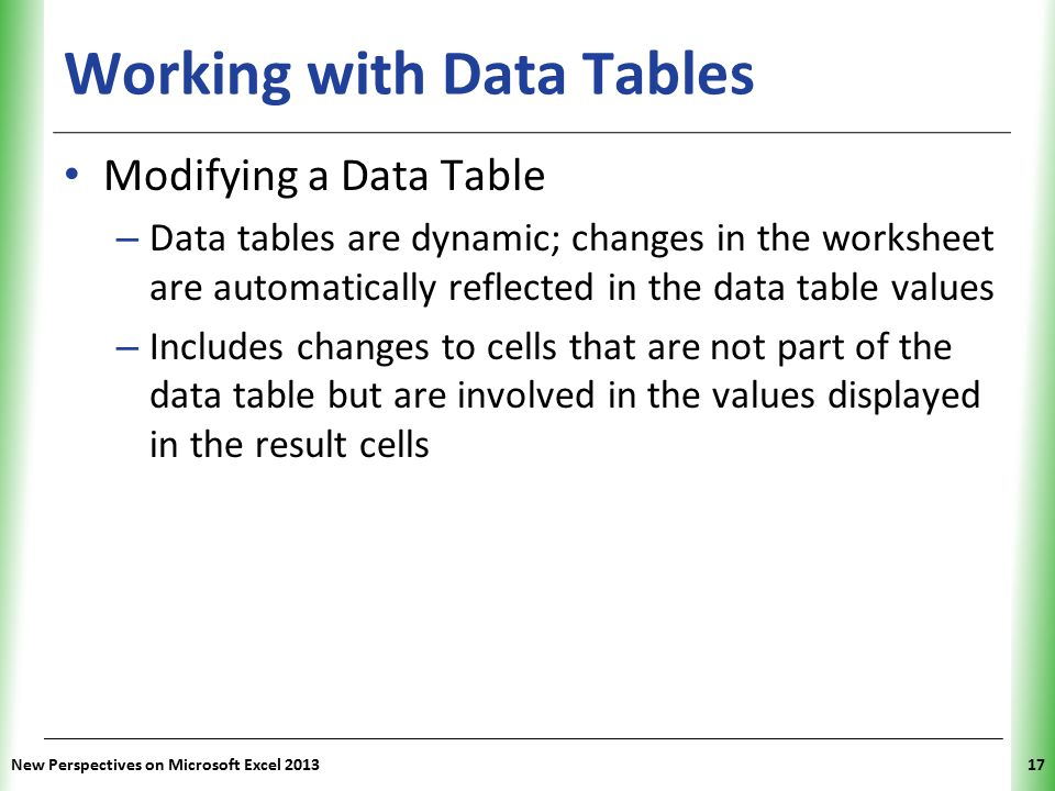 XP Working with Data Tables Modifying a Data Table – Data tables are dynamic; changes in the worksheet are automatically reflected in the data table v