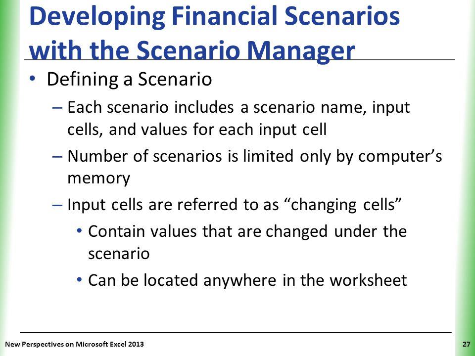 XP New Perspectives on Microsoft Excel 201327 Developing Financial Scenarios with the Scenario Manager Defining a Scenario – Each scenario includes a