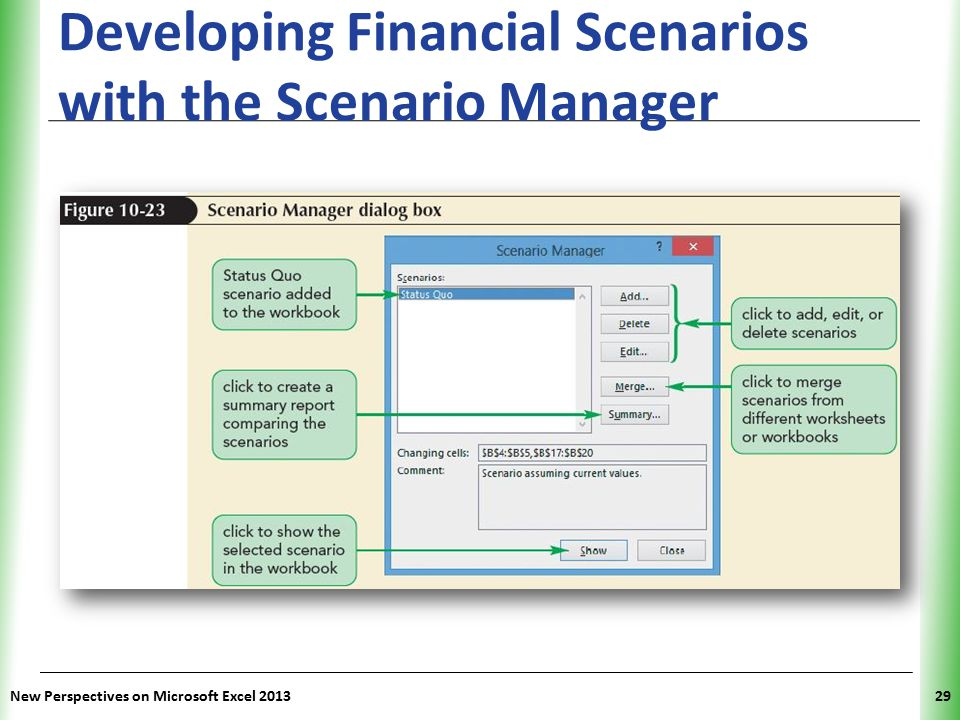 XP Developing Financial Scenarios with the Scenario Manager New Perspectives on Microsoft Excel 201329