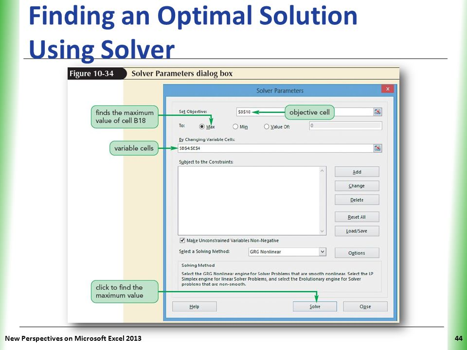 XP Finding an Optimal Solution Using Solver New Perspectives on Microsoft Excel 201344
