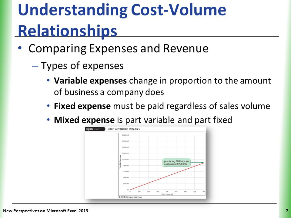 XP New Perspectives on Microsoft Excel 20137 Understanding Cost-Volume Relationships Comparing Expenses and Revenue – Types of expenses Variable expen