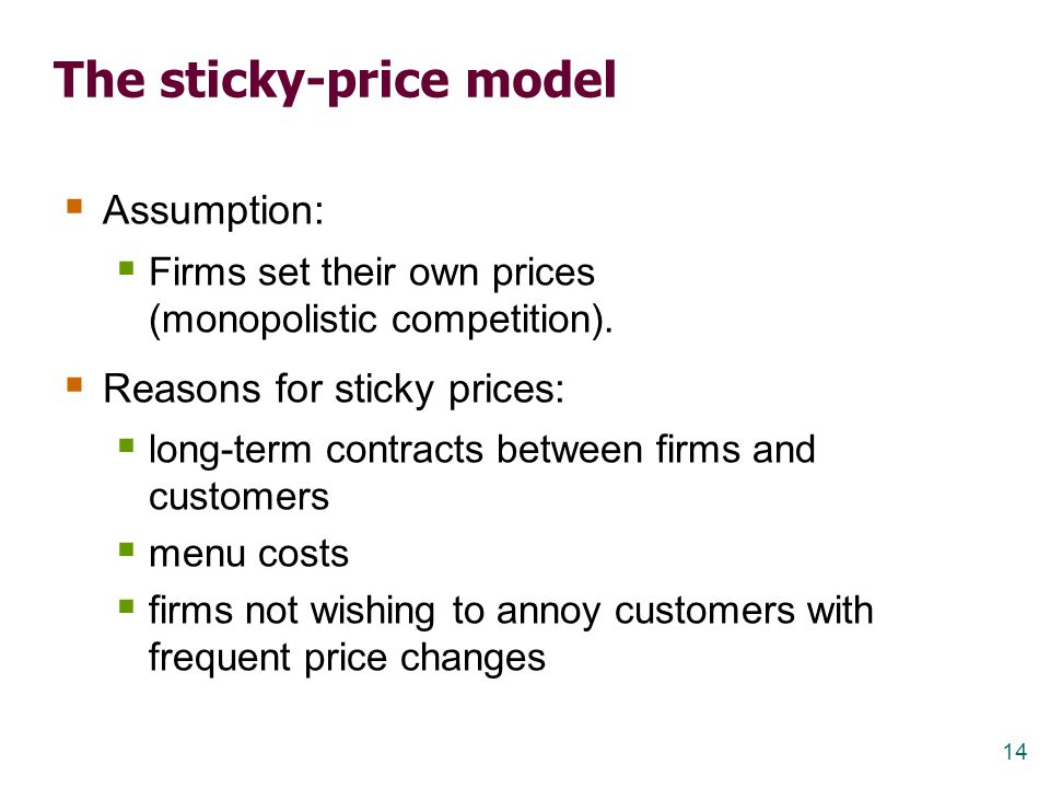 14 The sticky-price model  Assumption:  Firms set their own prices (monopolistic competition).  Reasons for sticky prices:  long-term contracts be