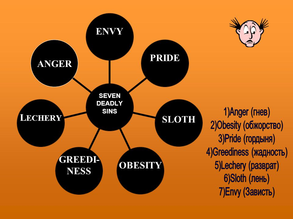 SEVEN DEADLY SINS ENVYPRIDESLOTHOBESITY GREEDI- NESS LECHERY ANGER