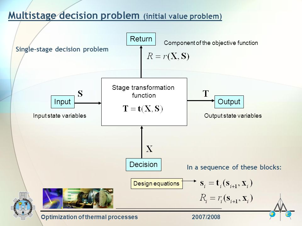 Optimization of thermal processes2007/2008 Multistage decision problem (initial value problem) Stage transformation function InputOutput Decision Return Input state variablesOutput state variables Component of the objective function Single-stage decision problem In a sequence of these blocks: Design equations