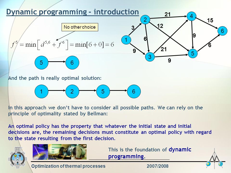 Optimization of thermal processes2007/2008 Dynamic programming - introduction 1 2 3 4 5 6 9 3 6 21 12 21 9 15 6 56 And the path is really optimal solution: 5612 No other choice In this approach we don't have to consider all possible paths.