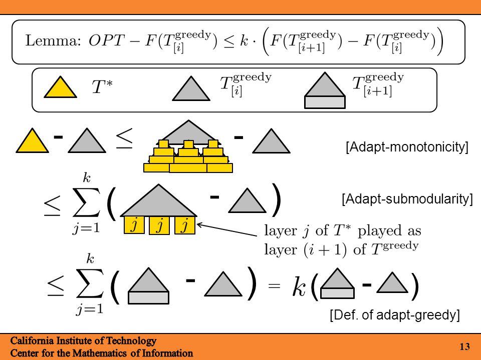 13 [Adapt-monotonicity] - - ( ) - ( ) - [Def. of adapt-greedy] ( ) - [Adapt-submodularity]
