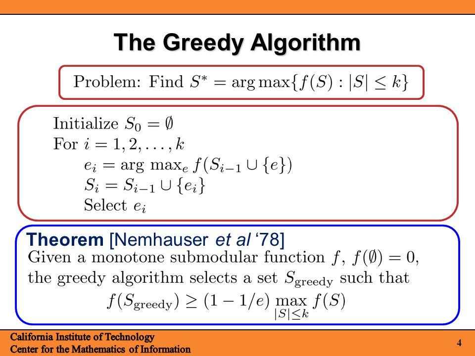 4 The Greedy Algorithm Theorem [Nemhauser et al '78]