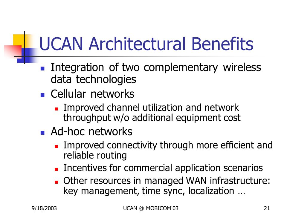 9/18/2003UCAN @ MOBICOM'0321 UCAN Architectural Benefits Integration of two complementary wireless data technologies Cellular networks Improved channe