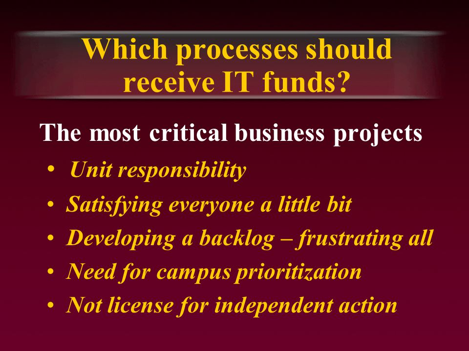 Which processes should receive IT funds.