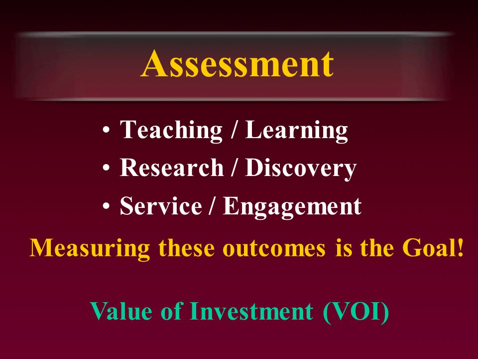Assessment Teaching / Learning Research / Discovery Service / Engagement Measuring these outcomes is the Goal.