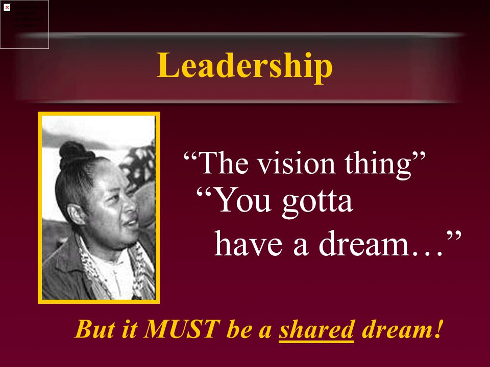 Leadership The vision thing You gotta have a dream… But it MUST be a shared dream!
