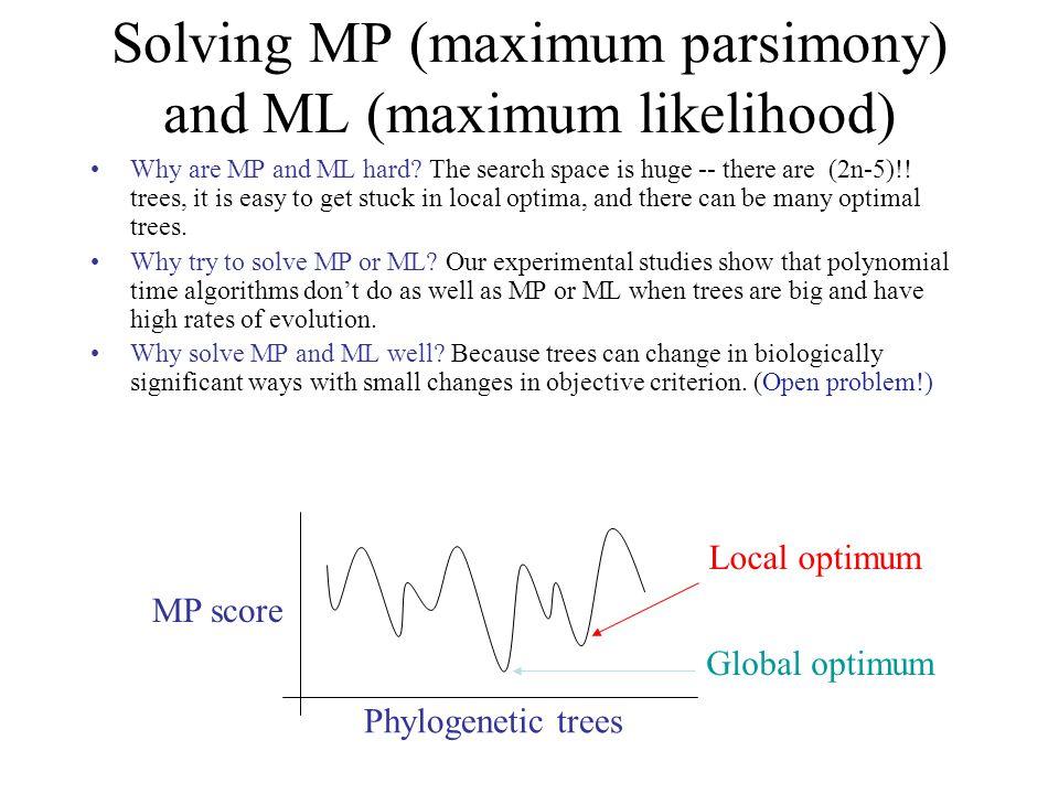 Solving MP (maximum parsimony) and ML (maximum likelihood) Phylogenetic trees MP score Global optimum Local optimum Why are MP and ML hard.