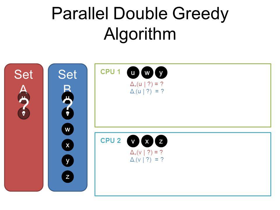Parallel Double Greedy Algorithm Set A Set B u v w x y z u v w x y z CPU 1 CPU 2 uu Δ + (u | ?) = ? Δ - (u | ?) = ? Δ + (v | ?) = ? Δ - (v | ?) = ? vv