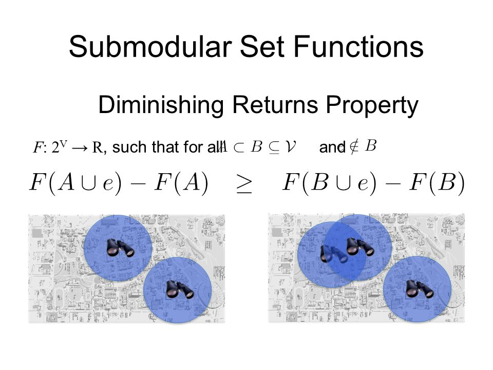 Submodular Set Functions F: 2 V → R, such that for all and Diminishing Returns Property