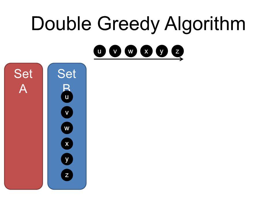 Double Greedy Algorithm Set A Set B u v w x y z u v w xyz