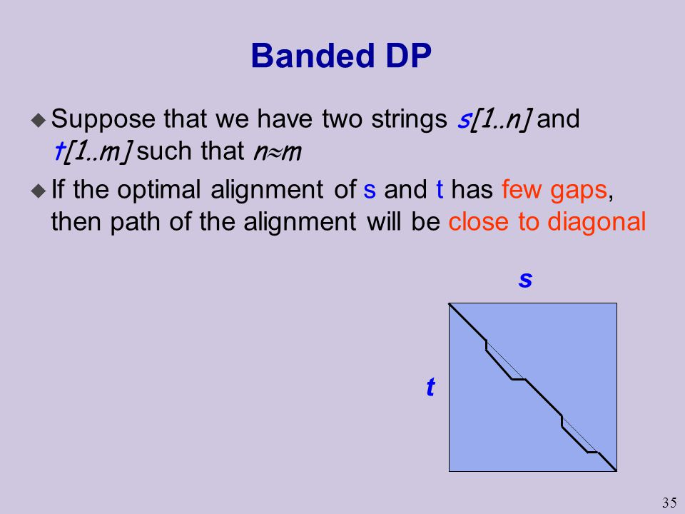 35 Banded DP  Suppose that we have two strings s[1..n] and t[1..m] such that n  m u If the optimal alignment of s and t has few gaps, then path of the alignment will be close to diagonal s t