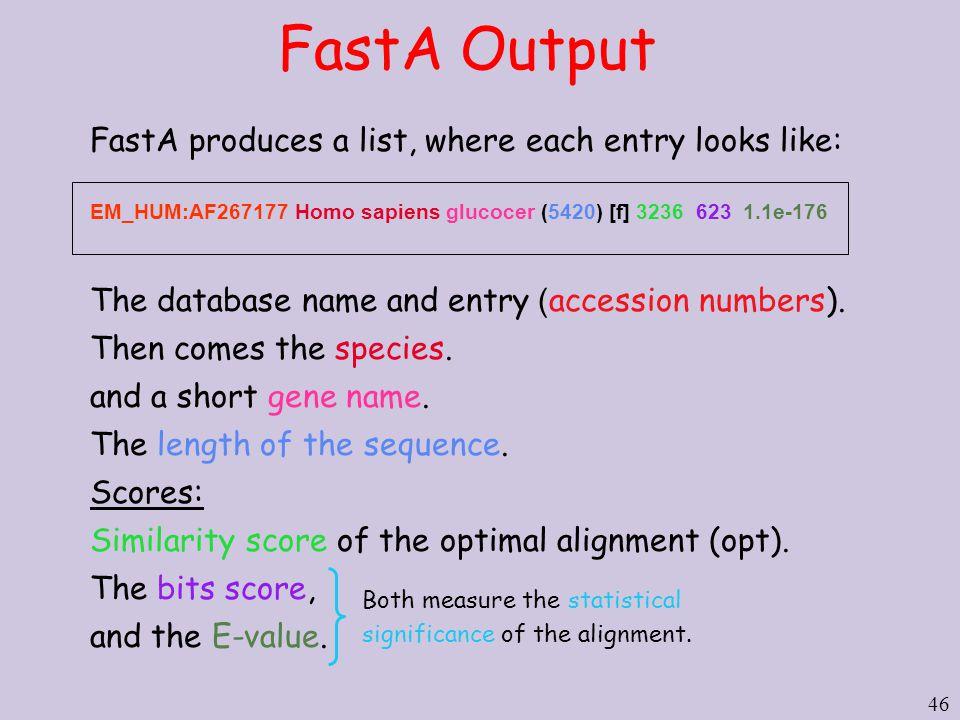 46 FastA Output FastA produces a list, where each entry looks like: EM_HUM:AF267177 Homo sapiens glucocer (5420) [f] 3236 623 1.1e-176 The database n