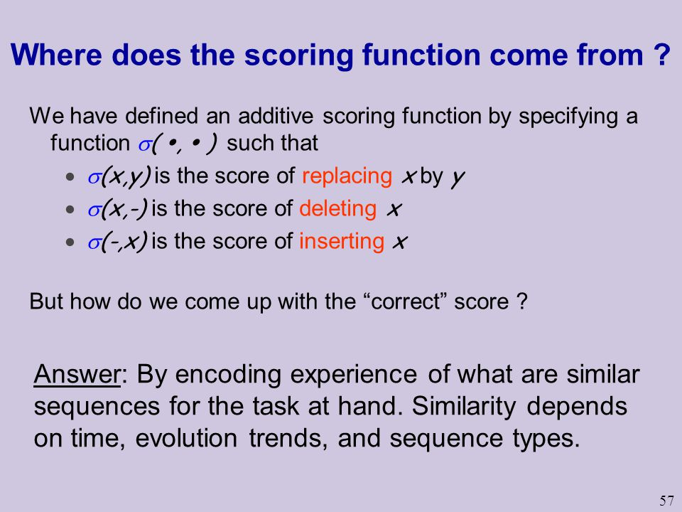 57 Where does the scoring function come from ? We have defined an additive scoring function by specifying a function  ( ,  ) such that  (x,y) is