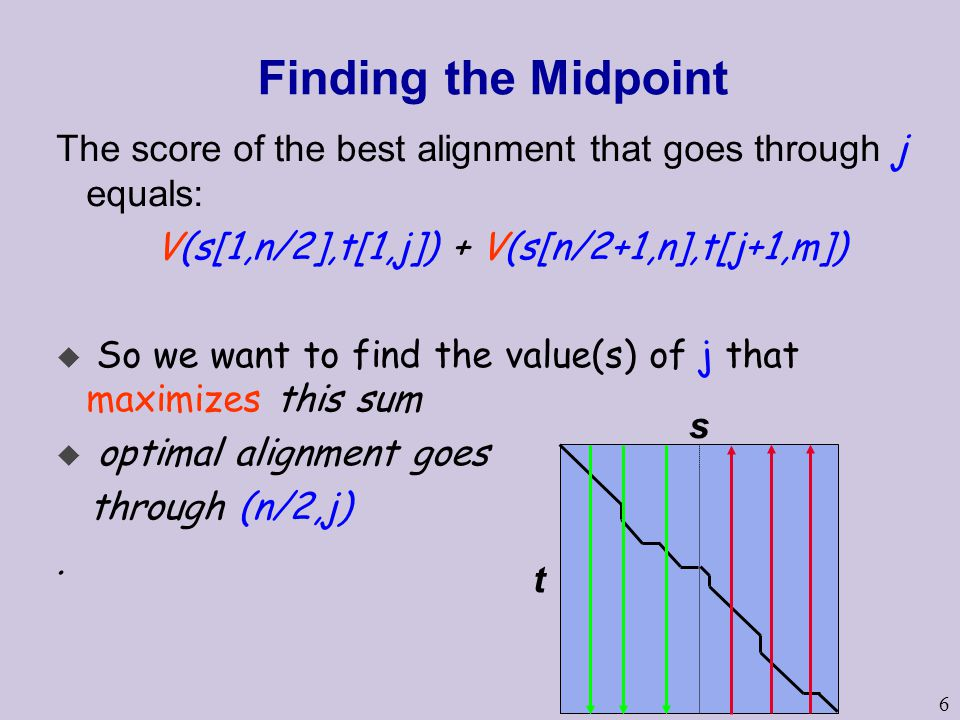6 Finding the Midpoint The score of the best alignment that goes through j equals: V(s[1,n/2],t[1,j]) + V(s[n/2+1,n],t[j+1,m])  So we want to find the value(s) of j that maximizes this sum u optimal alignment goes through (n/2,j).