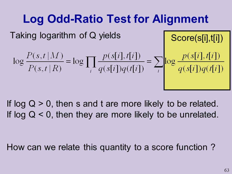 63 Score(s[i],t[i]) Log Odd-Ratio Test for Alignment Taking logarithm of Q yields If log Q > 0, then s and t are more likely to be related. If log Q <