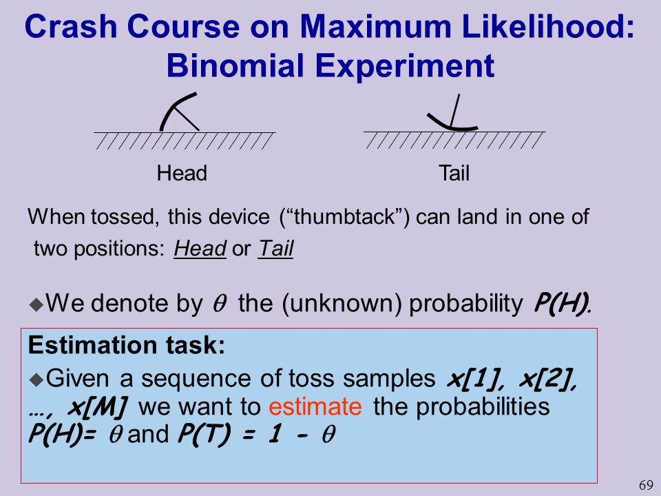 69 Crash Course on Maximum Likelihood: Binomial Experiment When tossed, this device ( thumbtack ) can land in one of two positions: Head or Tail HeadTail  We denote by  the (unknown) probability P(H).