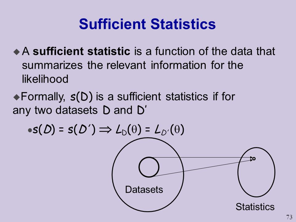 73 Sufficient Statistics u A sufficient statistic is a function of the data that summarizes the relevant information for the likelihood Datasets Statistics  Formally, s(D) is a sufficient statistics if for any two datasets D and D' s(D) = s(D' )  L D (  ) = L D' (  )