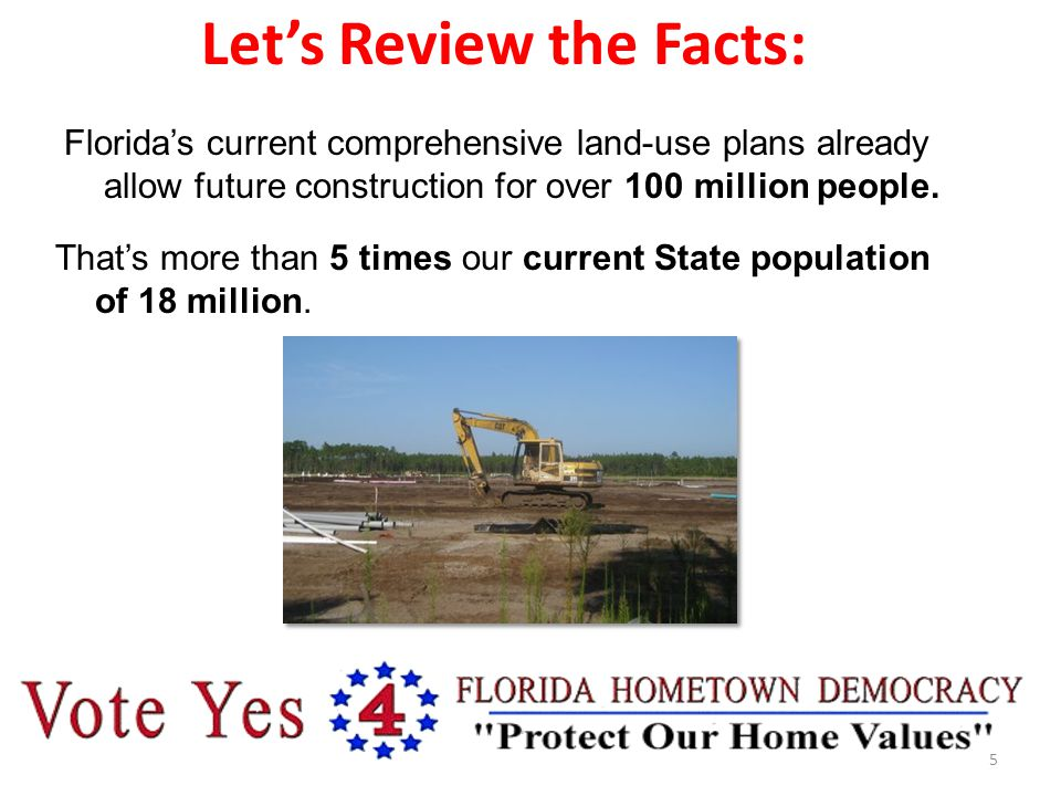 Let's Review the Facts: Florida's current comprehensive land-use plans already allow future construction for over 100 million people.